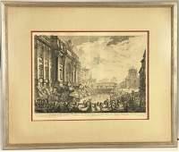 "Giovanni Piranesi Engraving, ""Fontana di Trevi"""