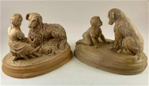 Pair of Plaster Figural Groups with Dogs