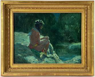 """""""Indian in Moonlight"""" Nocturne by E.I. Couse"""