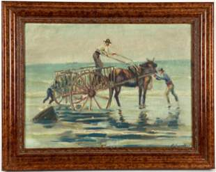Coastal Equestrian Scene by Foster Jewell