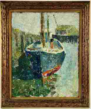 Oil on Board Harbor Scene Inscribed Stevens