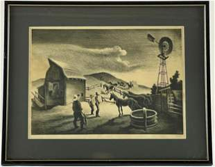 """The Corral"" by Thomas Hart Benton"