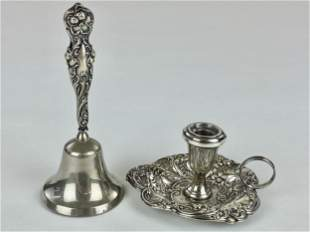Gorham Sterling Bell and Candle Holder