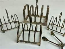 Group of Sterling Toast Racks with Set of Tongs