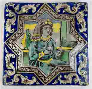 Persian Decorated TIle and North African Inkwell