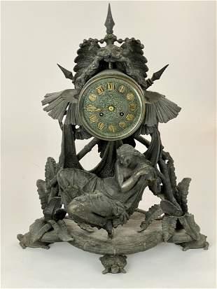 Egyptian Revival Spelter Clock