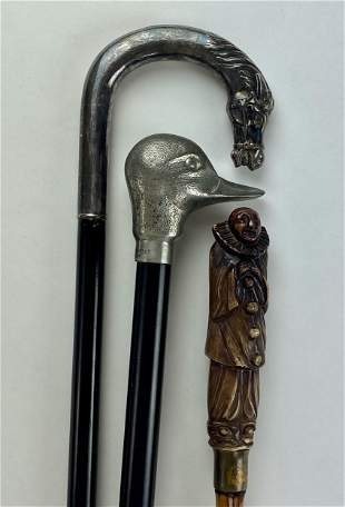 Three Figural Handled Canes