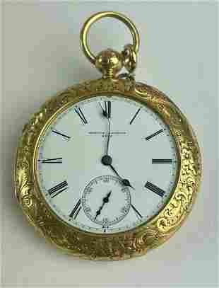 Exceptional Engraved English 18k Pocket Watch