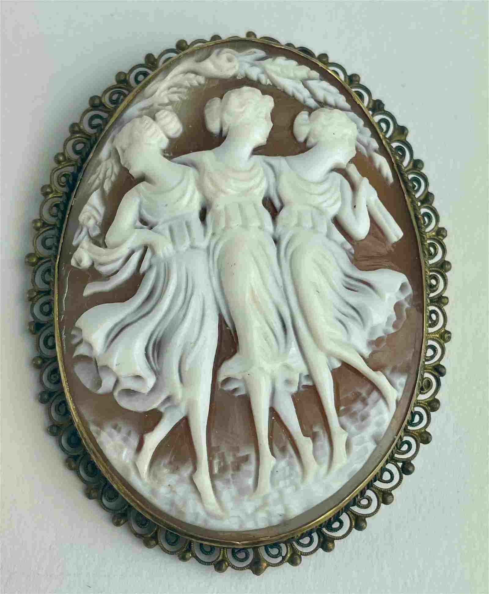 A Cameo Brooch Pin with the Three Graces