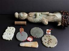 Collection of Chinese Jade Carvings with Export Tags