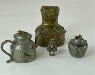 Chinese Pewter Tea Set, Stopper and Brass Censer