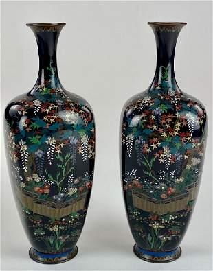 Pair of Japanese Cloisonne Bottleneck Cabinet Vases