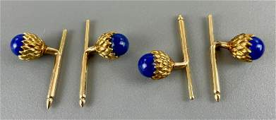 Two Pairs Acorn and 14k Cufflinks in Tiffany Box