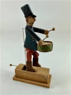 Folk Art Drummer Wooden Automaton