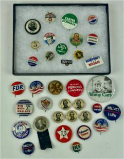 Political Buttons Including Lincoln