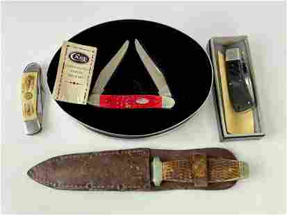Four Knives Including Case and Wostenholm