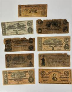 Grouping of Civil War Era Currency (9)
