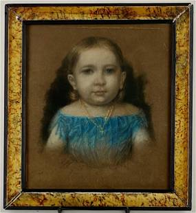 Early American Pastel of a Young Girl