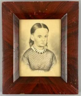 Folk Art Miniature Portrait of a Girl