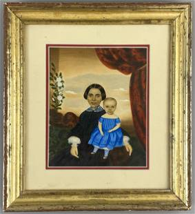 Mrs. Moses B. Russell Folk Art Portrait of Mother and