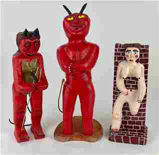 Group of Three Joe McCuaig Folk Art Sculptures
