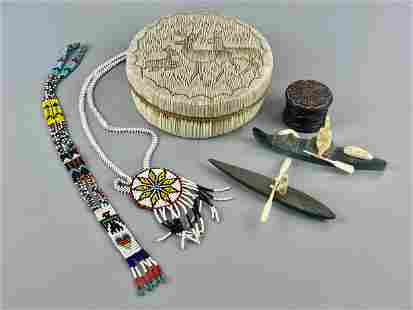 Native American Birch Basket with Various Objects