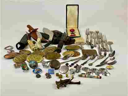 Large Grouping of Knives, Buckles, Silver, Plus