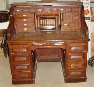 """228: 50 3/4"""" oak s roll top desk"""