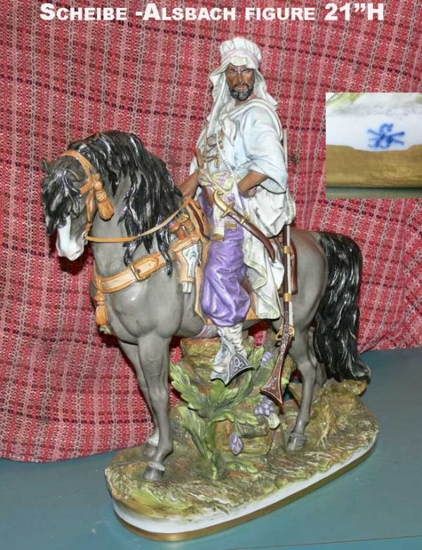 266: Scheibe-Alsbach Porcelain arabian on horse figure
