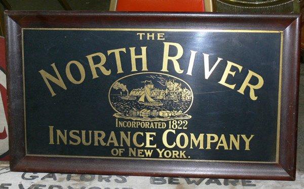 "1001: North River Insurance Company Tin sign 22"" x 11"""