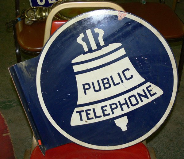 "1005: Public Telephone tin sign double sided 17"" x 7 3/"