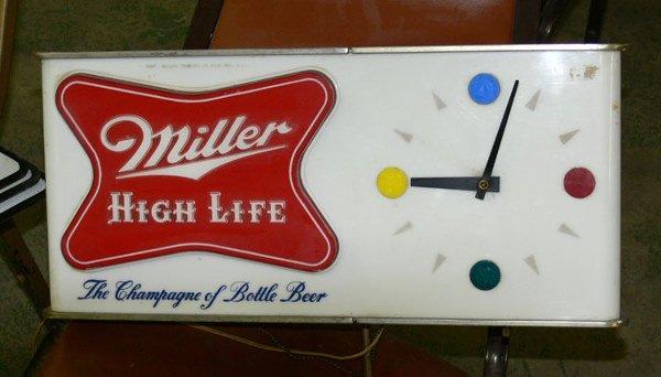 "1007: Miller Highlife metal & plastic sign 20"" x 9"""
