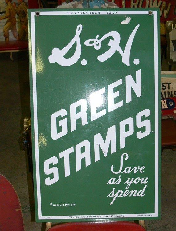 "1009: Green Stamps porcelain sign 32"" x 20"""