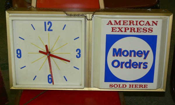 1011: American Express clock made by American Sign co A