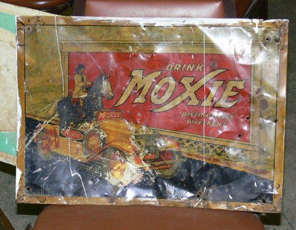 "1012: Drink Moxie tin sign 18 12"" x  13 1/2"""