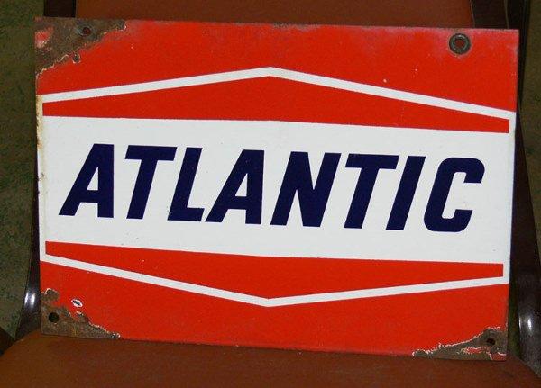 """1014: Atlantic Porcelain sign 12 1/2"""" x 9"""""""