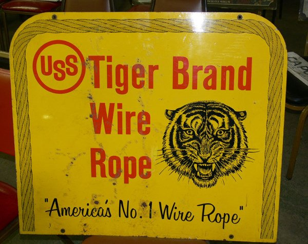 """1015: Tiger Brand Wire Rope double sided tin sign 30"""" x"""