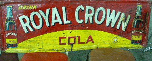 "1016: Drink Royal Crown Cola  tin sign 55"" x 19"""