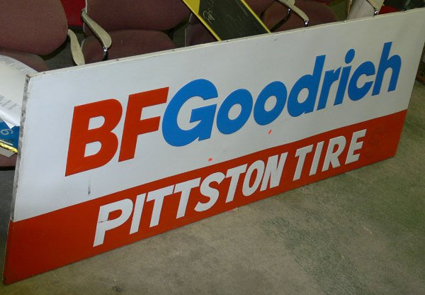 1018: BF Goodrich Pittston (PA) tire tin sign 7 1/2 ft