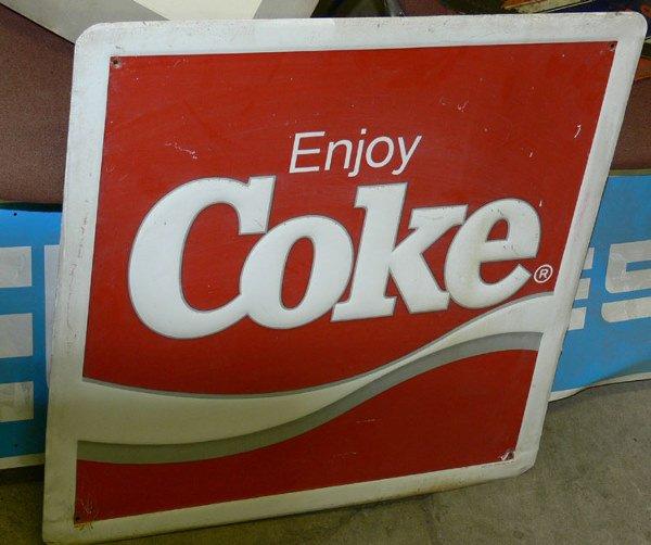 """1019: Enjoy Coke square tin sign 24"""" x 24"""""""