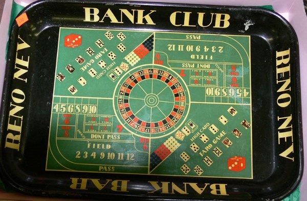 "1020: Bank Club Reno Nevada tin tray 15"" x 10"""