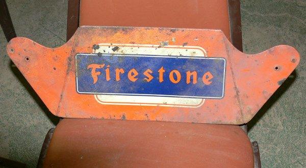 "1022: Red Firestone Tin sign 22 1/2"" x 7 3/4"""