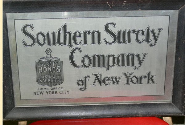 1024: Southern Surety Company of New York tin sign Sure