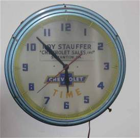 1148: rare Roy Stauffer Chevrolet neon clock Scranton P
