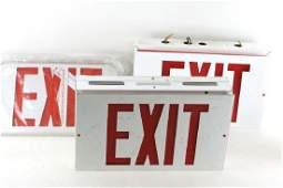 Lot of 2 Metal Exit Signs and Some Additional Covers