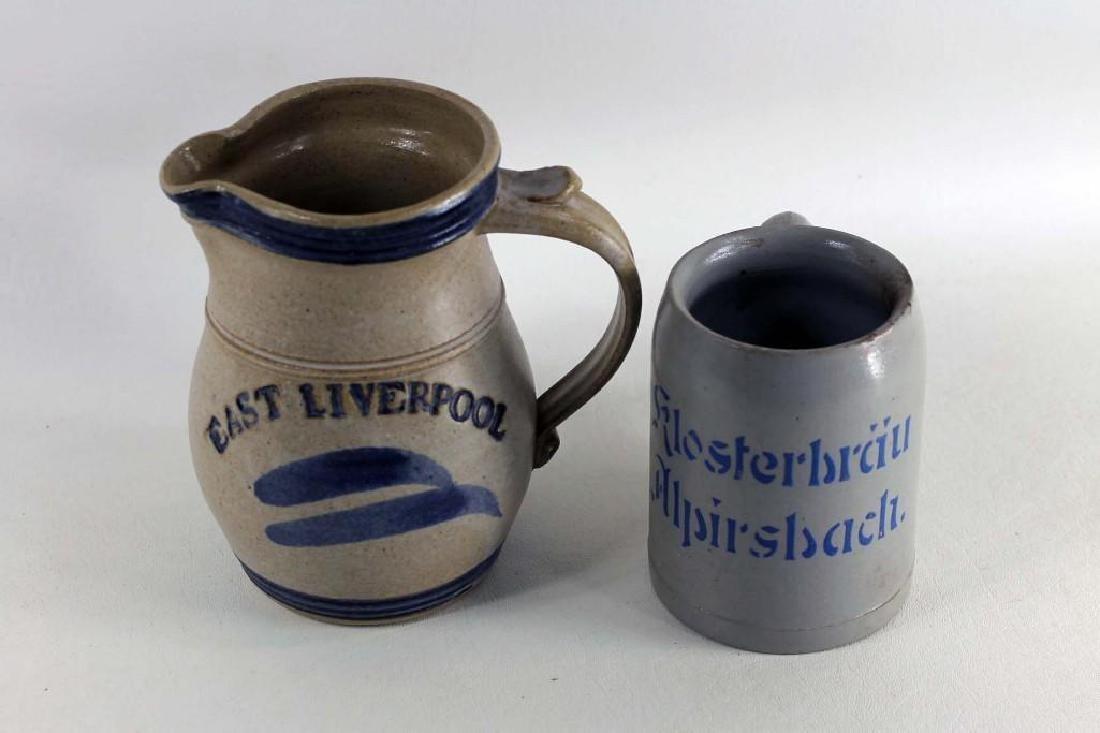 2 Stoneware Items Klosterbrau Alpirsbach Beer Stein and