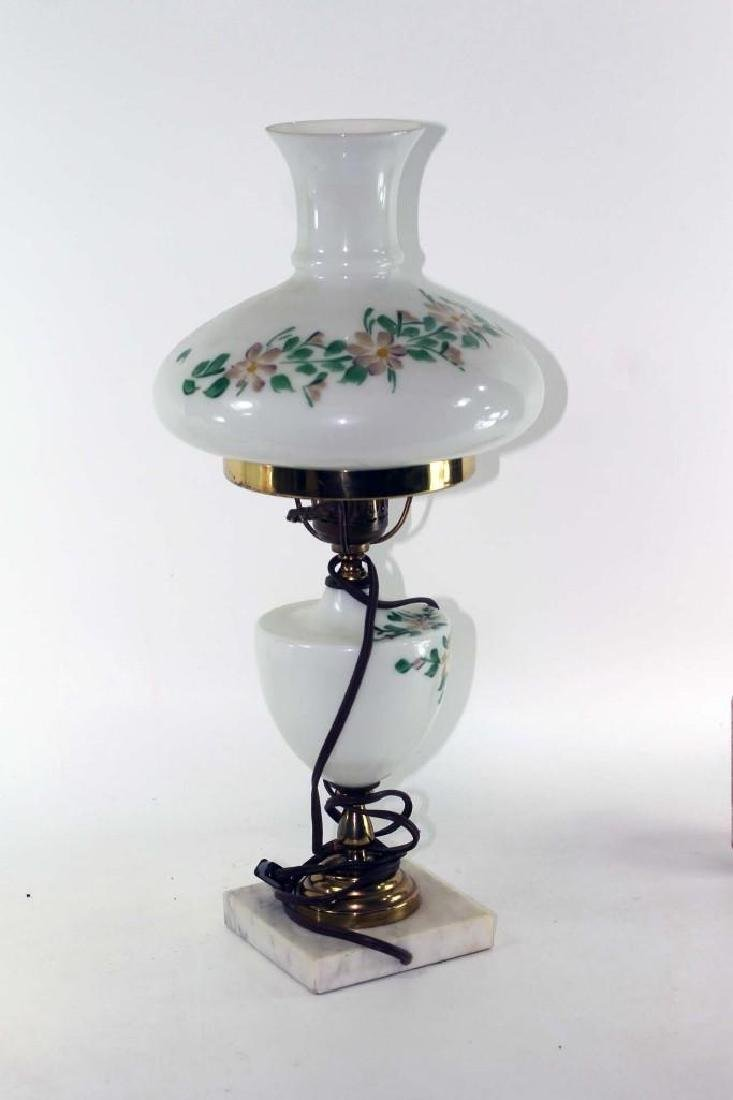 White Glass Table Lamp with Marble Base and Floral