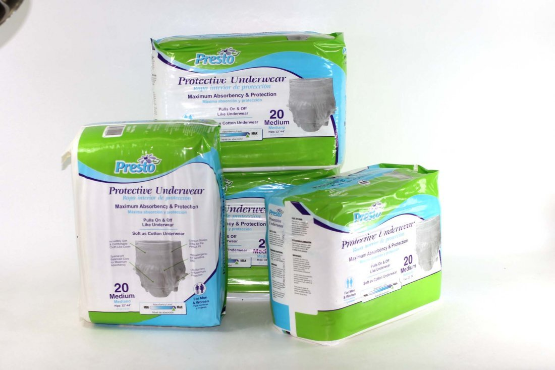 Case of Presto Adult Protective Underwear 4 Bags of 20