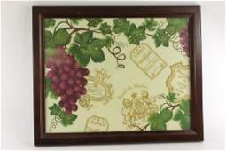 Framed Home Decor Print Wine and Grapes