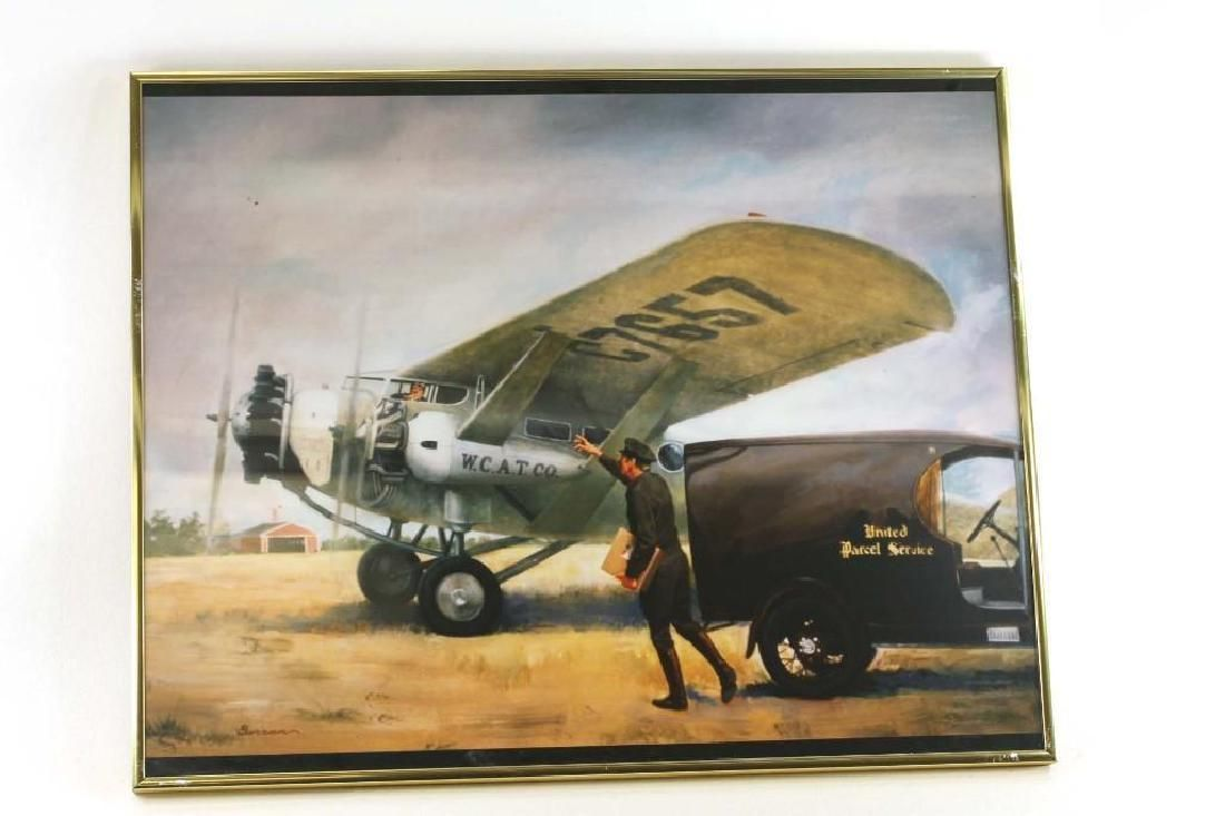Framed Print of an Early Airplane and The United States